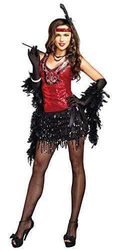 Dreamgirl Women's Sexy Red Flapper Costume What's Shakin, Red, Small