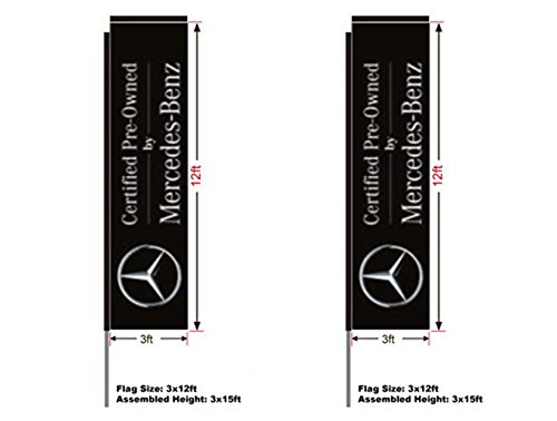 Mercedes-Benz Certified Preowned Automotive Swooper Boomer Rectangular Flag, Kit with 15' Pole and Ground Spike, 3'w x 12'h Flag, Full Color, 2 (Pre Owned Mercedes)