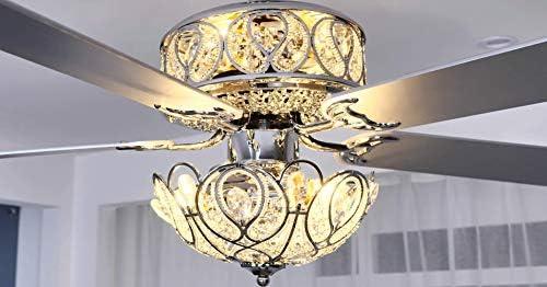 52'' Modern K9 Crystal Ceiling Fan