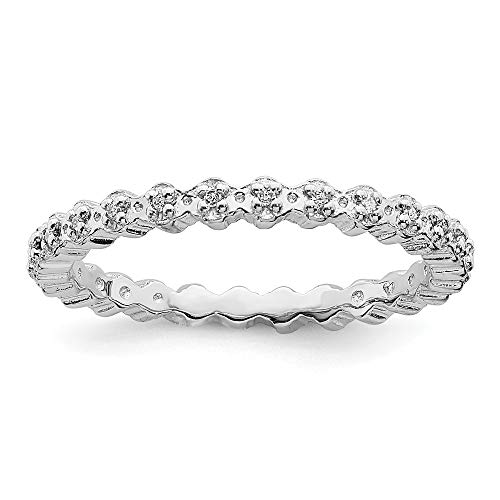 Stackable Expressions 2.25mm Sterling Silver Rhodium Plated Diamond Eternity Ring - Size 10