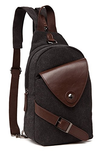 Berchirly Small Canvas Chest Bag Crossbody Shoulder Unbalance Gym Fashion Bags Sack Satchel
