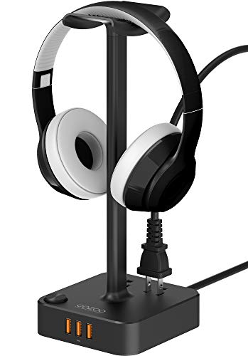 Headphone Stand with USB charger COZOO Desktop Gaming Headset Holder Hanger with 3 USB Charging Station and 2 Outlets Power Strip - Suitable For Gaming, DJ, Wireless Earphone Display (Black) by cozoo