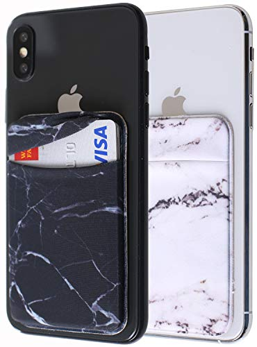 - [Two] Spandex Card Sleeves Cellphone Stick On Wallet for Smartphones, iPhone 7, 8 Plus, Samsung Galaxy Cell Phone Wallet Case 3M Adhesive (Marble 2Pcs)
