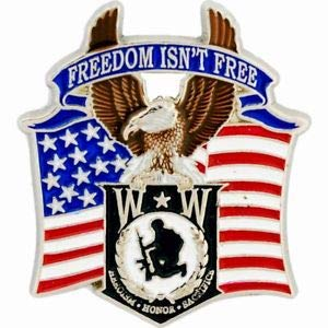 Popular Enamel Lapel pins - W W Heroism Honor Sacrifice Freedom Isn't Free Hat Pin - Fashion Pins and Brooches (Honor Pinback Button)