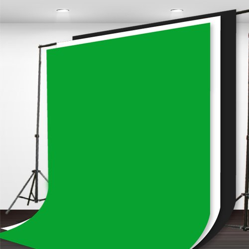 Fancierstudio Background Stand Backdrop Support System Kit With 6ft x 9ft Chromakey Green, Black, White Muslin Backdrop By Fancier Studio H804+6x9BWG by Fancierstudio
