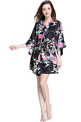 (SofiePJ Women's Silky Stretch Flower Peacock Knee Length Kimono Robe Black XXL)
