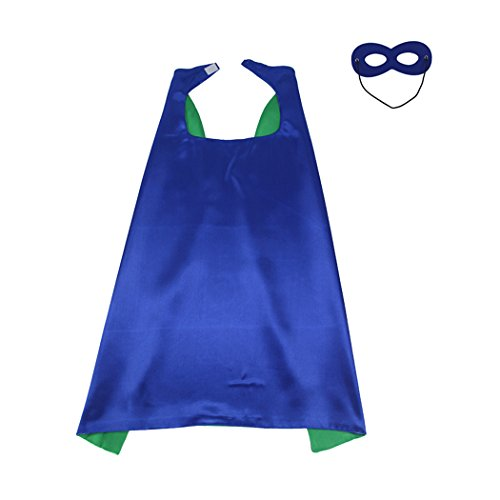 Whoopgifts 55cm x 70cm Polyester Satin Reversible Kids, Adult, Men, Women Superhero Cape with Mask, Blue&Green ()