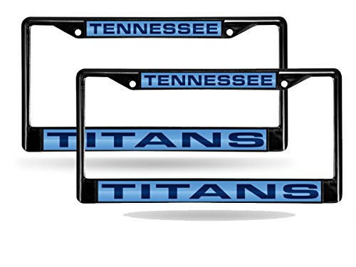 Tennessee Titans Laser License Plate - Tennessee Titans Black Metal (2) Laser License Plate Frame Set