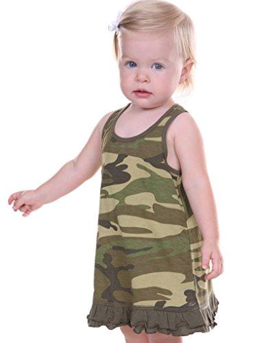 Kavio! Infants Girls Camouflage A-Line Tank Dress Camo Army Green 24M -
