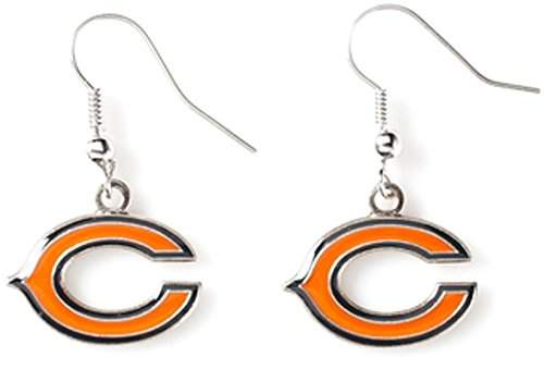 NFL Chicago Bears Logo Dangler Earrings, Size 2.5, (Bears Nfl Candle)