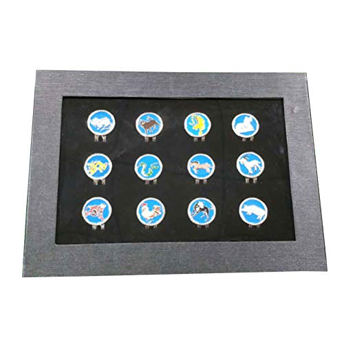 VORCOOL 12Pcs Golf Ball Markers Magnetic Chinese Zodiac Hat Clips Gift Box