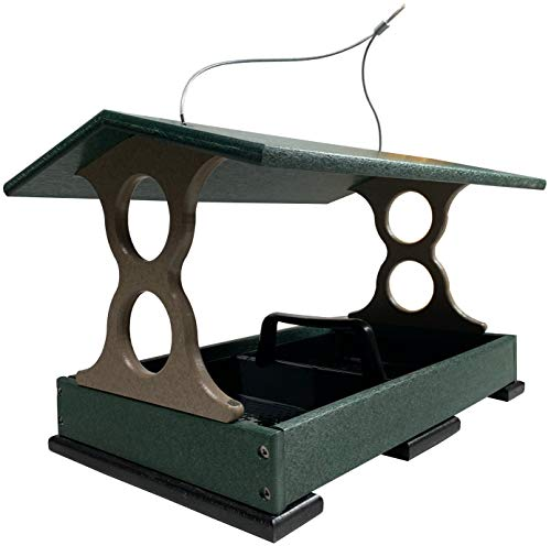 JCs Wildlife Large Poly Fly Thru Bird Feeder w/Removable Seed Tray (Green)