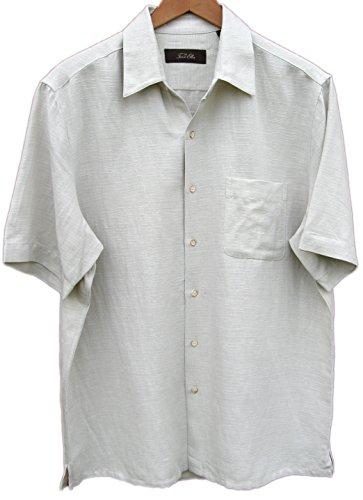 Mens Silk Linen Blend Camp Shirt Solid Textured Casual (Small)