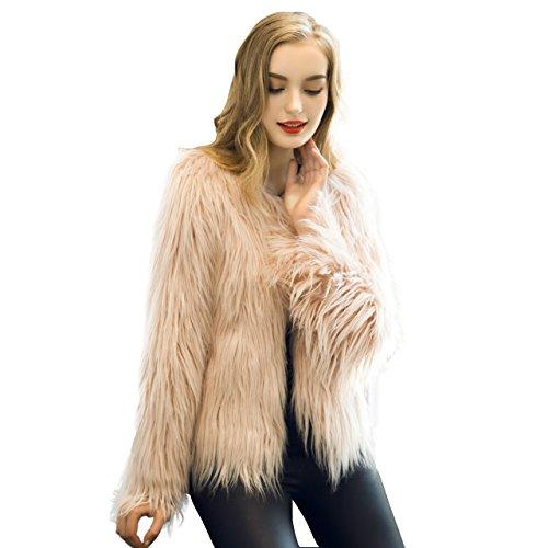 Caracilia Women Winter Warm Fluffy Faux Fur Coat Jacket Pink Tag 4XL (Arctic Fur Coat)
