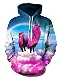 Gludear Unisex Realistic 3D Digital Print Pullover Hoodie Hooded Sweatshirt,Alpaca,S/M