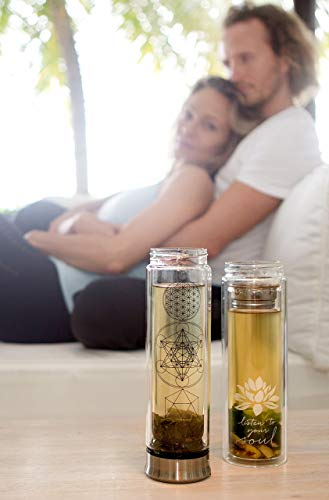 The Lotus Glass Tea Tumbler for Loose Leaf Tea, Coffee + Fruit Water w/ Stainless Steel Infuser & Strainer. 15oz Bottle, Bamboo Lid + Travel Sleeve. Perfect Gift. Soulful Design. Beautifully Packaged.