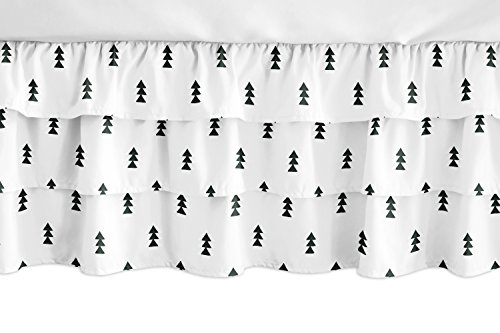 Charm Skirt Ruffled (Sweet Jojo Designs Black and White Triangle Girl Ruffled Tiered Baby Crib Bed Skirt Dust Ruffle for Bear Mountain Watercolor Collection)