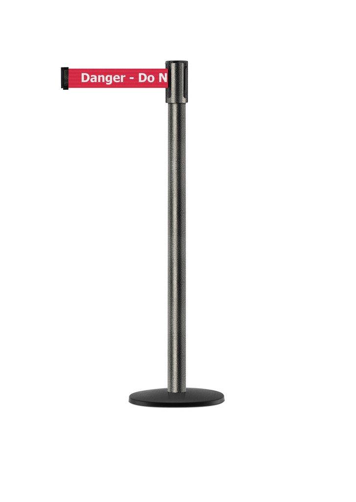 Tensabarrier - 890B-33-64-64-STD-NO-RIX-C - silver vein post, 2'' wide, 7'6'' length red Danger Do Not Enter belt
