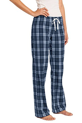 District Ladies Juniors Flannel Plaid Pant, Navy M (Flannel Pj Pants For Juniors)