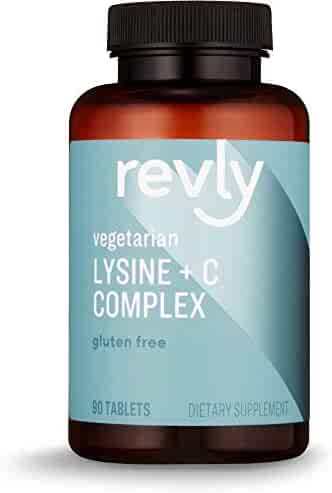 Amazon Brand - Revly Lysine + C Complex, 1000 mg L-Lysine and 66 mg Vitamin C per Serving (2 Tablets), 90 Tablets, Gluten Free