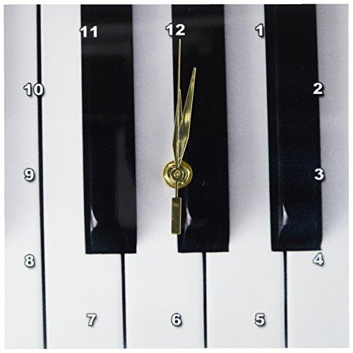 3dRose dc_29776_1 Piano Keys-Desk Clock, 6 by 6-Inch