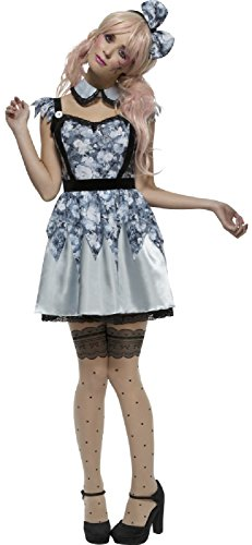 Ladies Fever Creepy Evil Damaged Blue Broken Doll Carnival Halloween Fancy Dress Costume Outfit UK 8-18 (UK 8-10) for $<!--$44.52-->