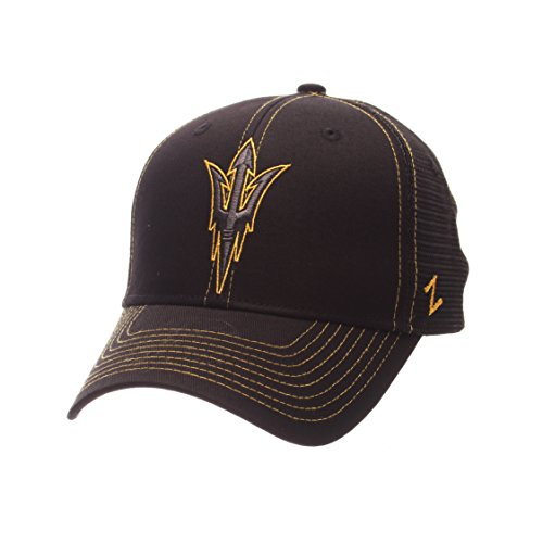 NCAA Arizona State Sun Devils Adult Men's Staple Trucker Blackout Cap, Adjustable Size, Black