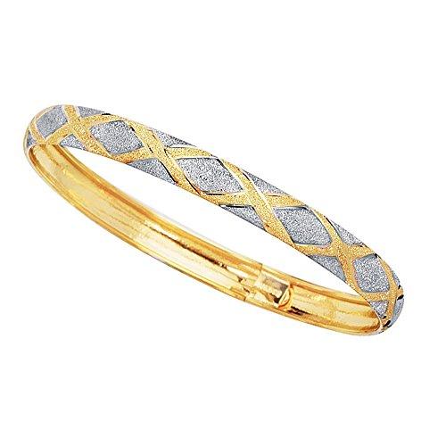 10k Yellow And White Gold High Polished Flex Bangle Bracelet, 7