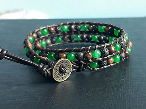 2 Wrap lava green jade tiger eye stone beaded leather bracelets for men and women friendship bracelets gift bracelets