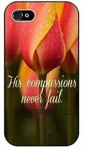 His compassions never fail - Flowered - Lamentations 3:22 - Bible verse IPHONE 5C black plastic case / Christian Verses