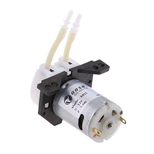 100ml Miniature - MonkeyJack Dc 12V Lab Dosing Pump Peristaltic Head & Connector Chemical Water Liquid 0~100ml/min for Aquarium Lab Analytical Water White