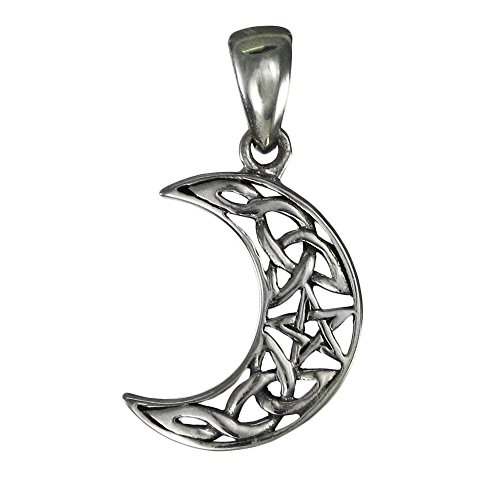 Small Sterling Silver Crescent Moon Pentagram ()