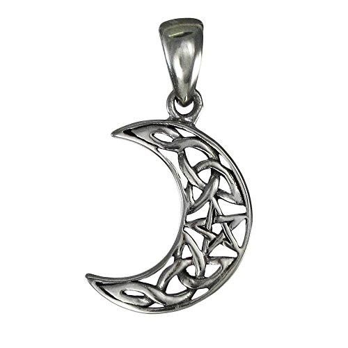 Small Sterling Silver Crescent Moon Pentagram Pendant
