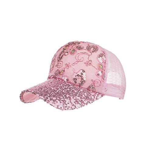 Yikey Baseball Cap Cotton Sequin Unisex Flower Net Cap Baseball Cap Sun Hat