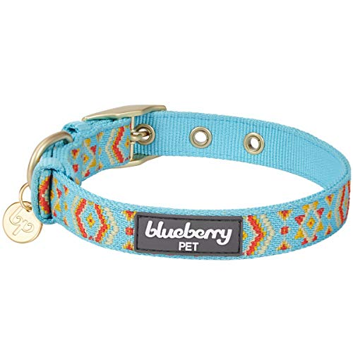 Blueberry Pet 2019 New 6 Designs Magical Tribal Print Celeste Blue Dog Collar with Metal Buckle, Neck 13-16.5
