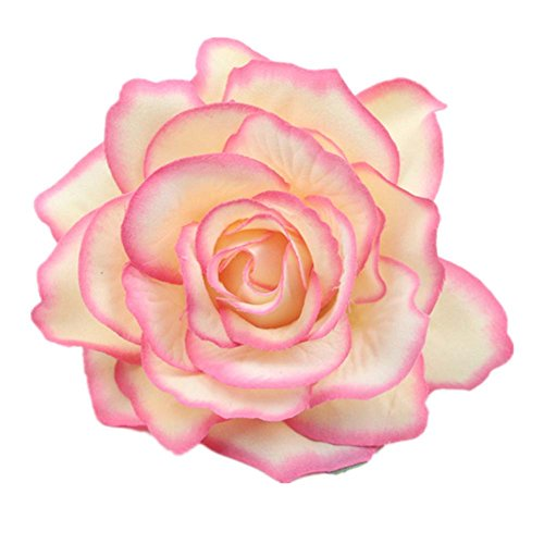 Lovefairy Beautiful Rose Flower Hair Clip Pin up Flower Brooch For Party Travel Festivals (Rose Pink)