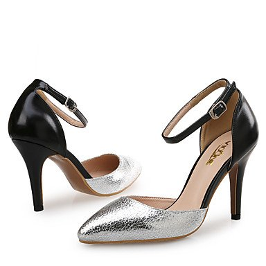 LvYuan Mujer-Tacón Stiletto-Zapatos del club-Sandalias-Boda Vestido Fiesta y Noche-Cuero Sintético-Plata Oro Gold