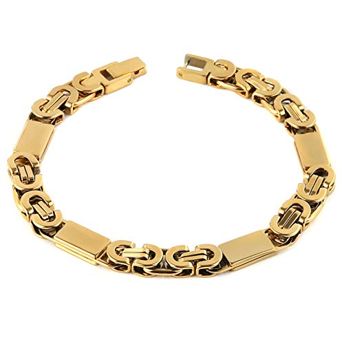- HZMAN Mens Stainless Steel Link Bracelet Silver Gold Tone Classic Byzantine Chain Jewelry 9 Inches