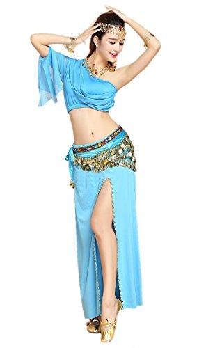 mit Neuheiten Pailletten Shoulder Damen Honeystore 2017 Kleid Belly Blau Dance Dance One Latein 8PC qA7APB5