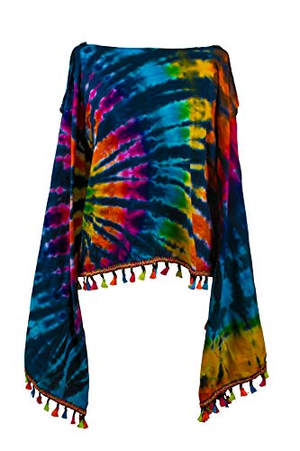 Tie Dye Fringe Scarf - CCcollections Tie Dye 2in1 Top Poncho Wrap with Fringed Pom Pom Tassel Colourful (Colourful Dark)