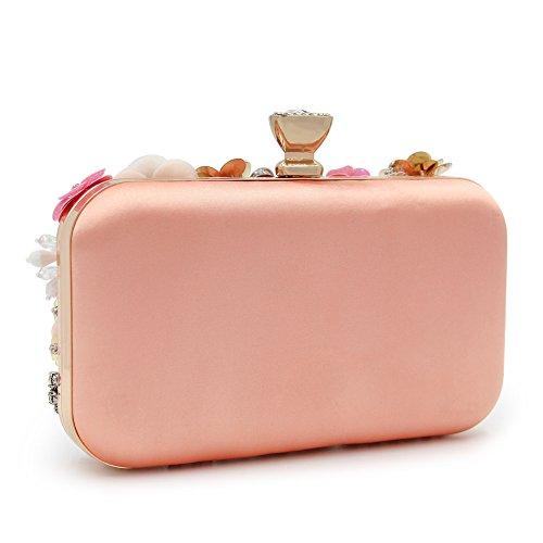 Festa Fiori Borse Clutch Spalla Nozze Pink Orfila Borsetta Donne Paillettes Dei Catena Delle Pink Abito Serale Di HFXwU0