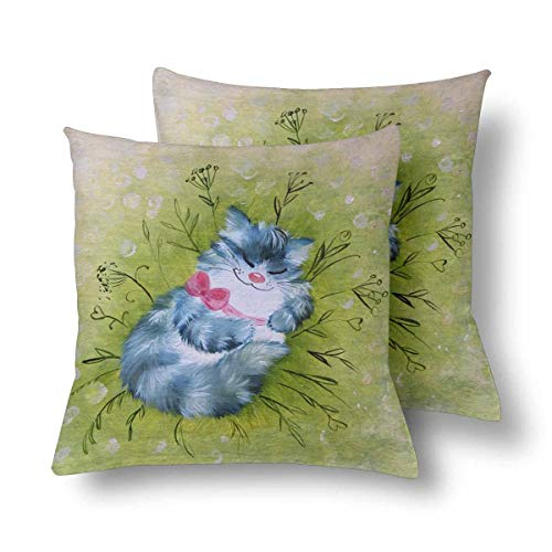 (Royalreal Blue Sleeping Cat Meadow Grass Cute Animal Throw Pillow Cover Decorative Durable Cushion Cover Set of 2 26x26inch Soft Linen Pillowcase for Sofa Couch Bedroom)