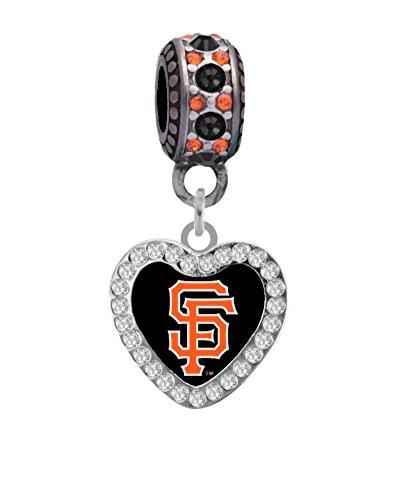 San Francisco Giants Rhinestone Heart Charm Fits European Style Large Hole Bead Bracelets