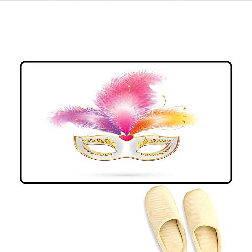 Doormat Golden Colored Carnival Mask with Feathers Mysterious Costume Classical Print Bath Mats Carpet Multicolor (Dreamgirls Costumes Uk)