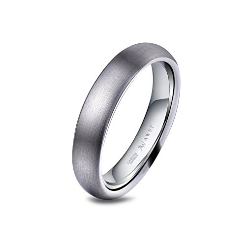 AW Tungsten Rings Brushed Wedding Band - Unisex Comfort Fit Engagement Anniversary Ring 4mm, Size 5-15