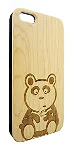 Genuine Maple Wood Organic Cartoon Panda Bear Snap-On Cover Hard Case for iPhone 5/5S by heywan