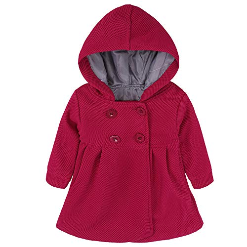 EGELEXY Baby Girl's Hooded Wool Cotton Trench Coat Outwear 12-18months Rose by EGELEXY (Image #2)