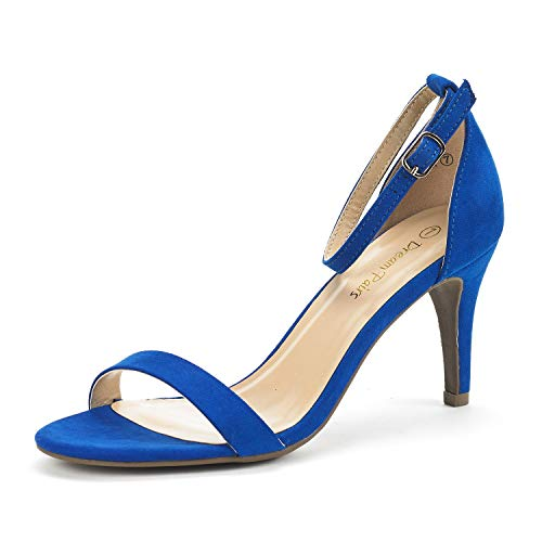 DREAM PAIRS Women's Jenner Royal Blue Ankle Strap Stilettos Low Heels Pumps Sandals Dress Shoes Size 5.5 US