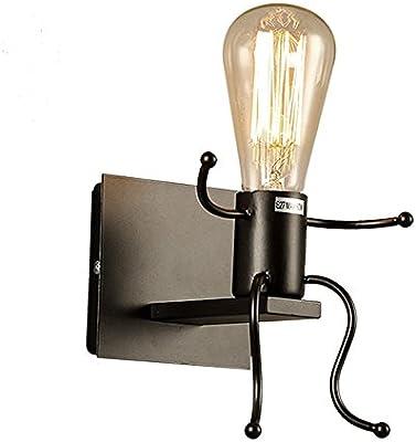 Hdmy Mini Robot Loft Lámpara de Pared Cocina Balcón Restaurante Bar Creativo Industrial Vintage Luz de Pared País Americano Retro Aplique de Pared (Color : B): Amazon.es: Hogar