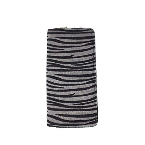 Wallet - Tiger Stripe Faux Fur Animal Print Long Zippered Clutch Your All-in-One Carry All (Tiger Stripes)